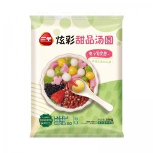 新品三全炫彩甜品湯圓草莓/黑芝麻/芋圓口味小元宵奶茶下午茶260g