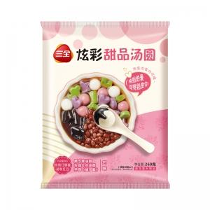 新品三全炫彩甜品湯圓玫瑰紅豆/黑芝麻/芋圓小元宵奶茶下午茶260g