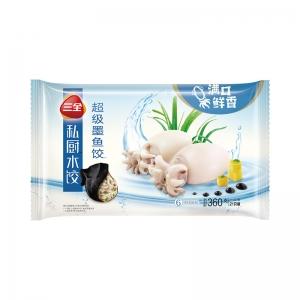 三全私厨水饺超级墨鱼饺海鲜水饺墨鱼馅21只装360g一人份